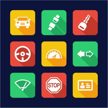 Driving School Icons Flat Design