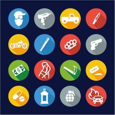 Modern Gangster Icons Flat Design Circle