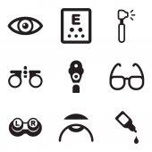 Fotografia Icone di Optometria nero  bianco