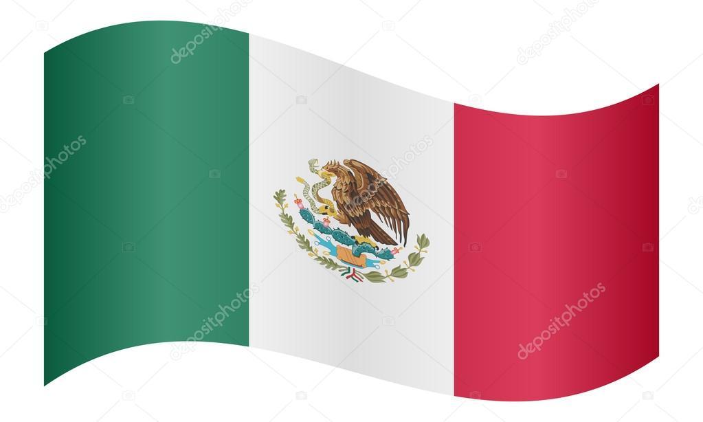 Vector: Bandera De Mexico Ondeando
