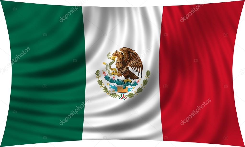 vlag van mexico zwaaien geïsoleerd op wit — stockfoto © photoroman