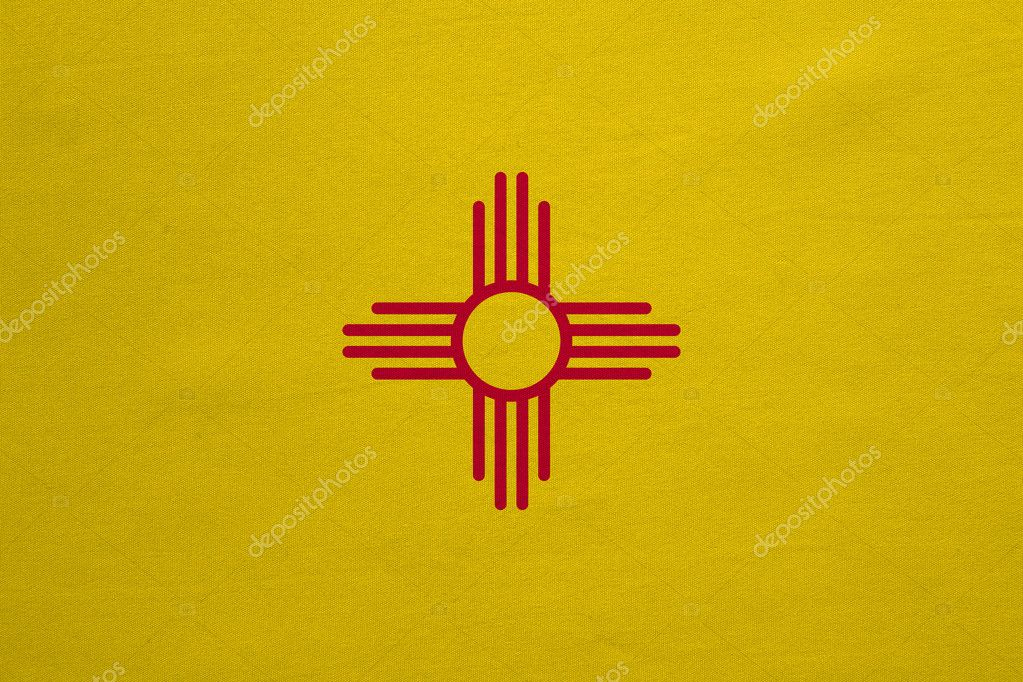 Flag Of New Mexico Real Detailed Fabric Texture Stock Photo