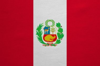 Flag of Peru real detailed fabric texture