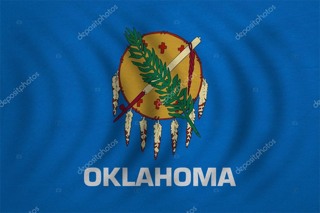 Flag Of Oklahoma Wavy Detailed Fabric Texture Stock Photo