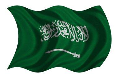 Saudi Arabia flag wavy on white, fabric texture