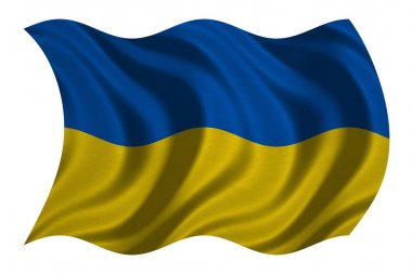 Flag of Ukraine wavy on white, fabric texture
