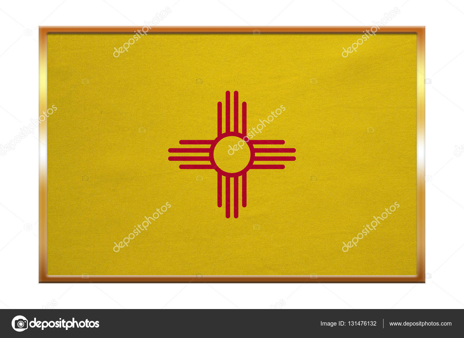 Flag Of New Mexico Golden Frame Fabric Texture Stock Photo