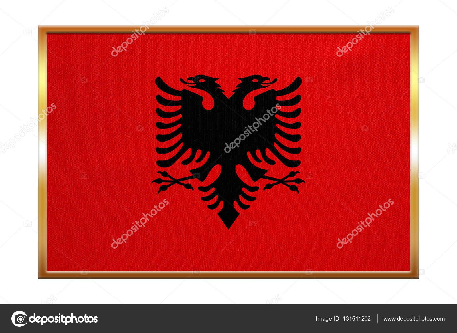 Flagge von Albanien, Goldrahmen, Stoff — Stockfoto © photoroman ...