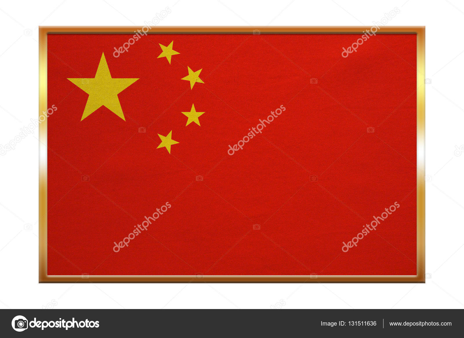 Bandera de China, marco dorado, textura de la tela — Fotos de Stock ...