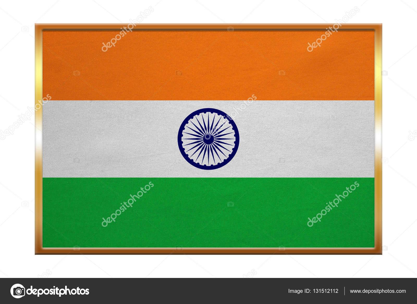 Flagge von Indien, Goldrahmen, Stoff — Stockfoto © photoroman #131512112
