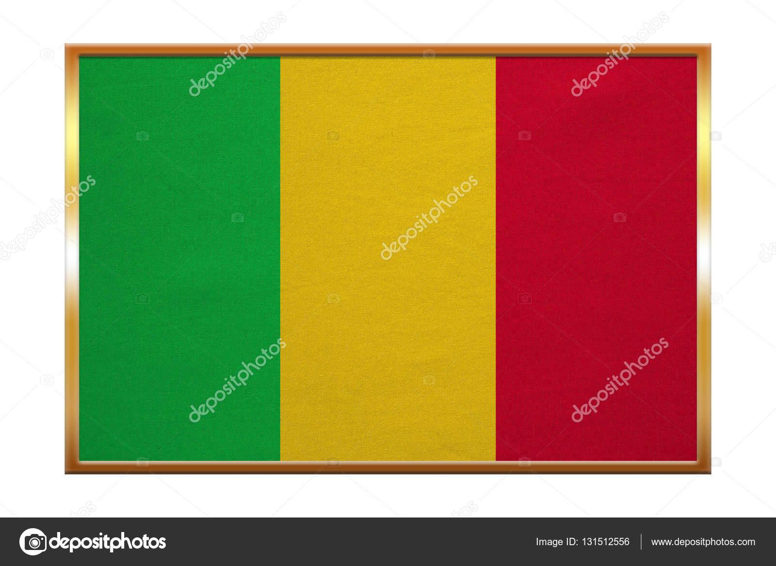 Bandera de Malí, marco dorado, textura de la tela — Foto de stock ...