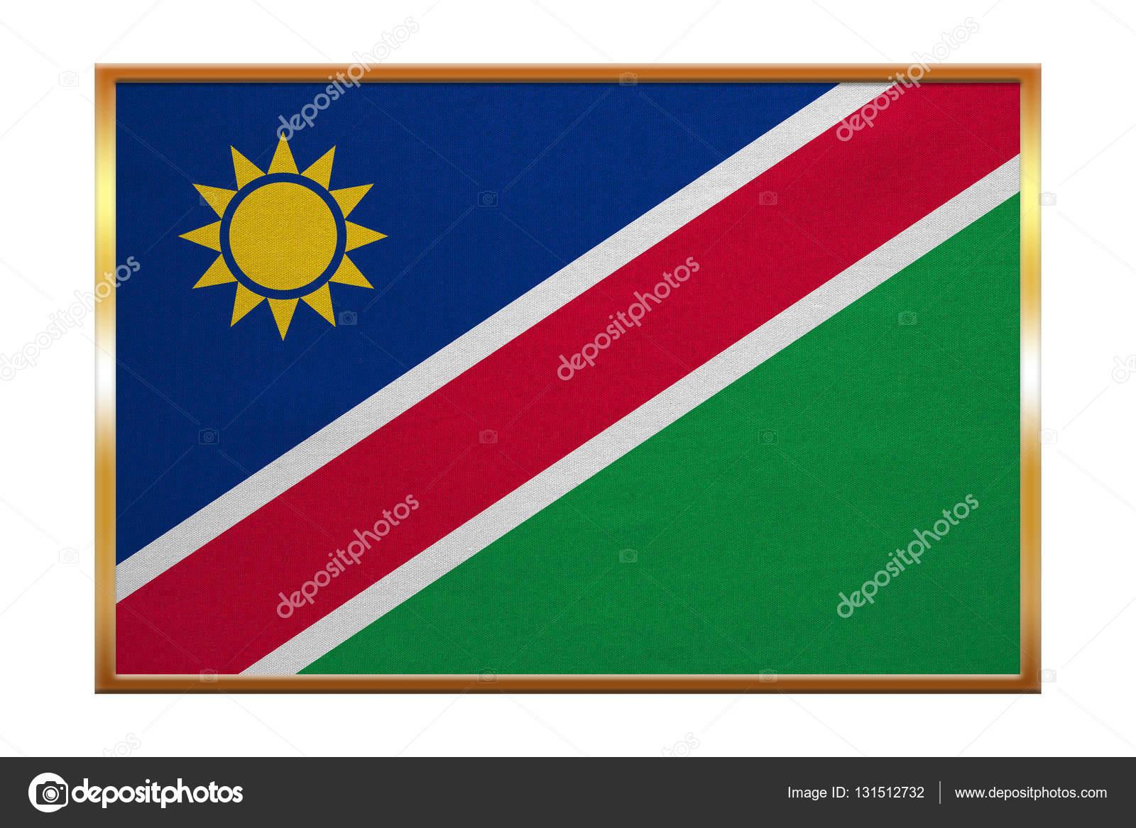 Flag of Namibia , golden frame, fabric texture — Stock Photo
