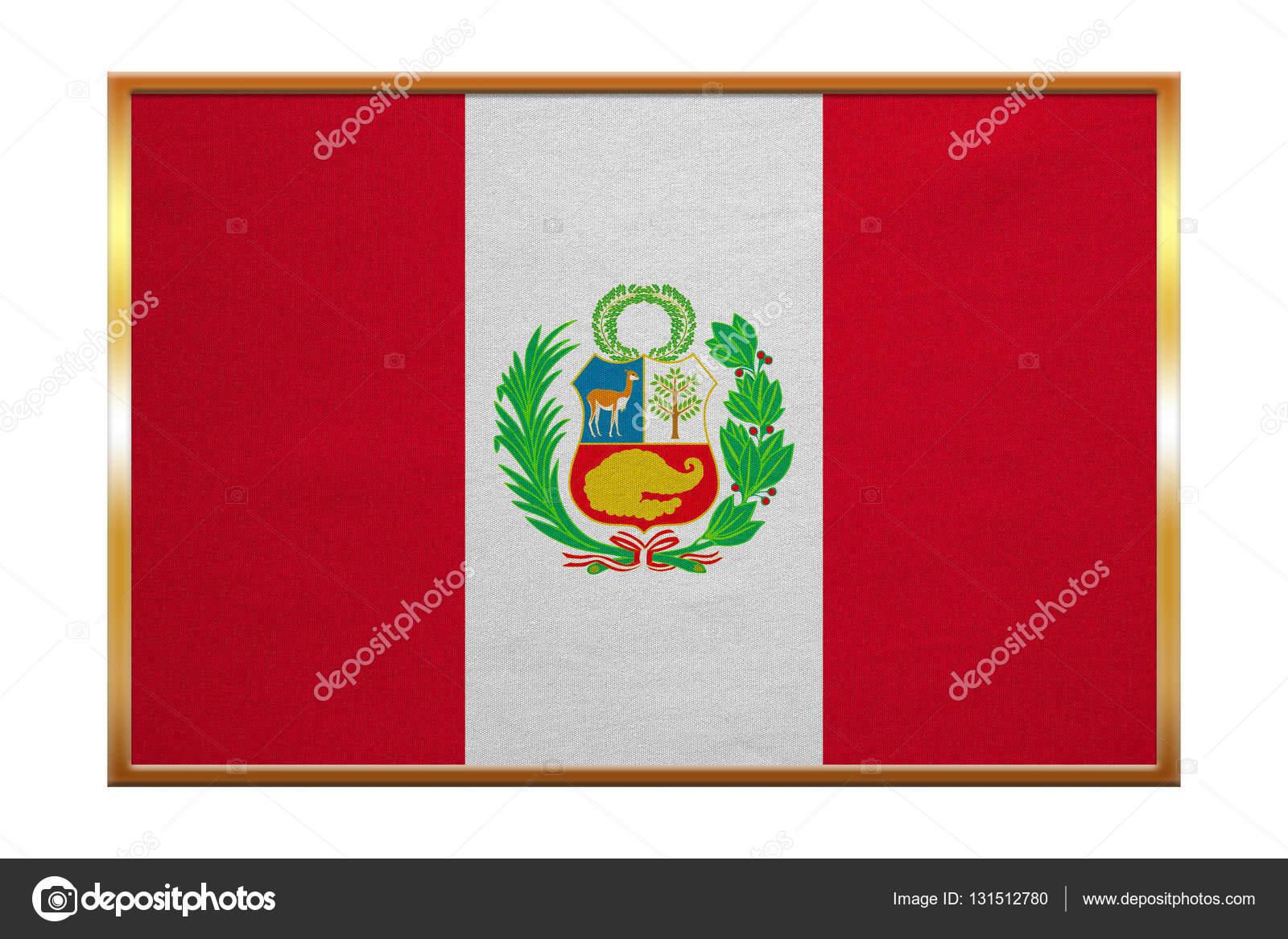 Bandera de Perú, marco dorado, textura de la tela — Fotos de Stock ...