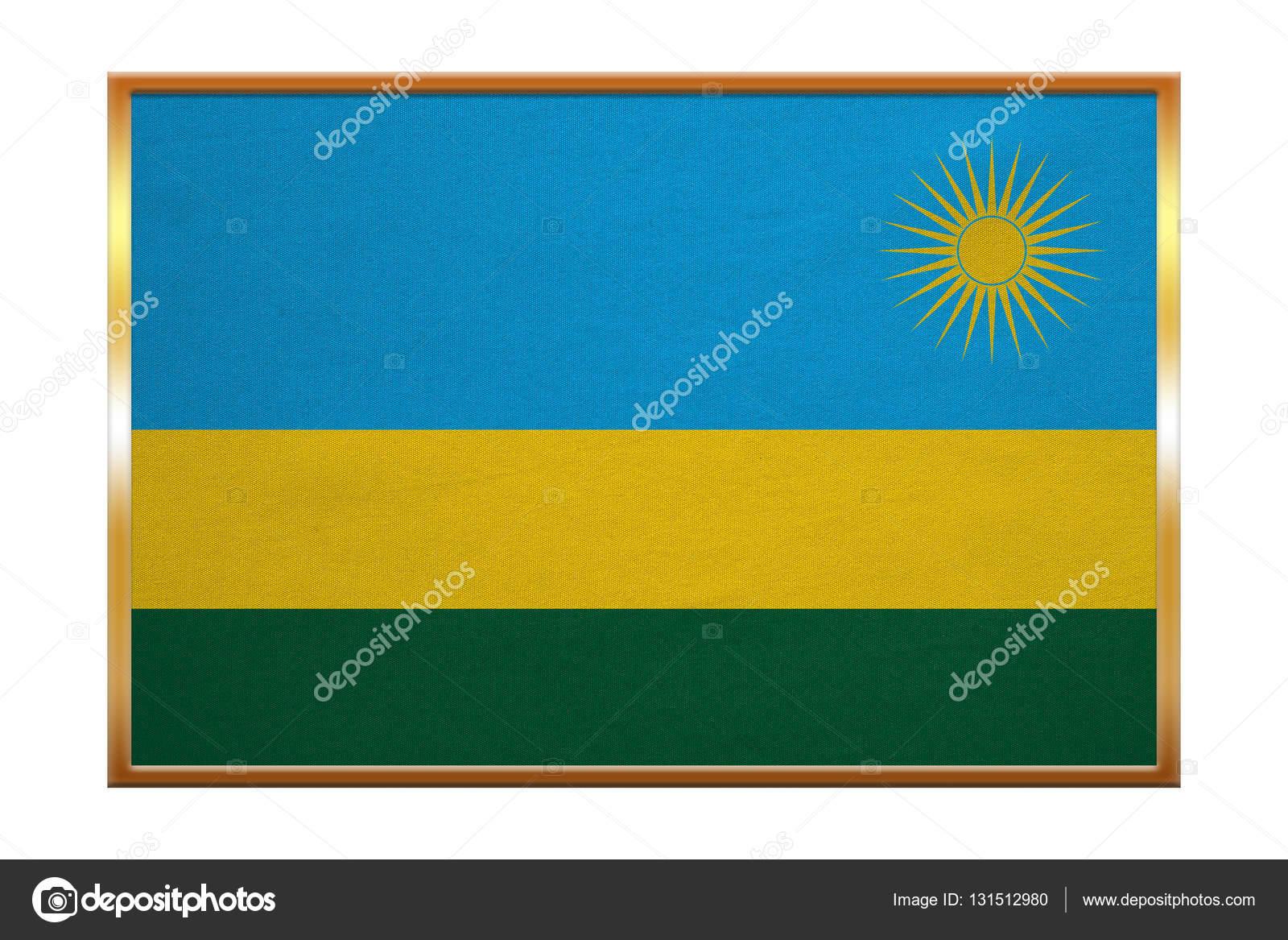 Flagge von Ruanda, Goldrahmen, Stoff — Stockfoto © photoroman #131512980