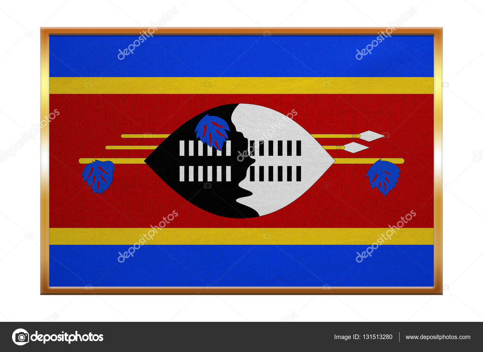 Flag of Swaziland , golden frame, fabric texture — Stock Photo ...