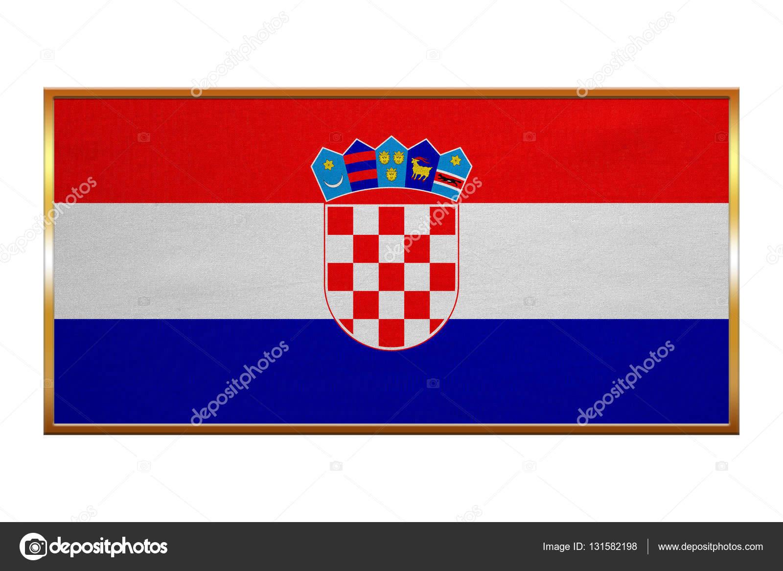 Flagge von Kroatien, Goldrahmen, Stoff — Stockfoto © photoroman ...