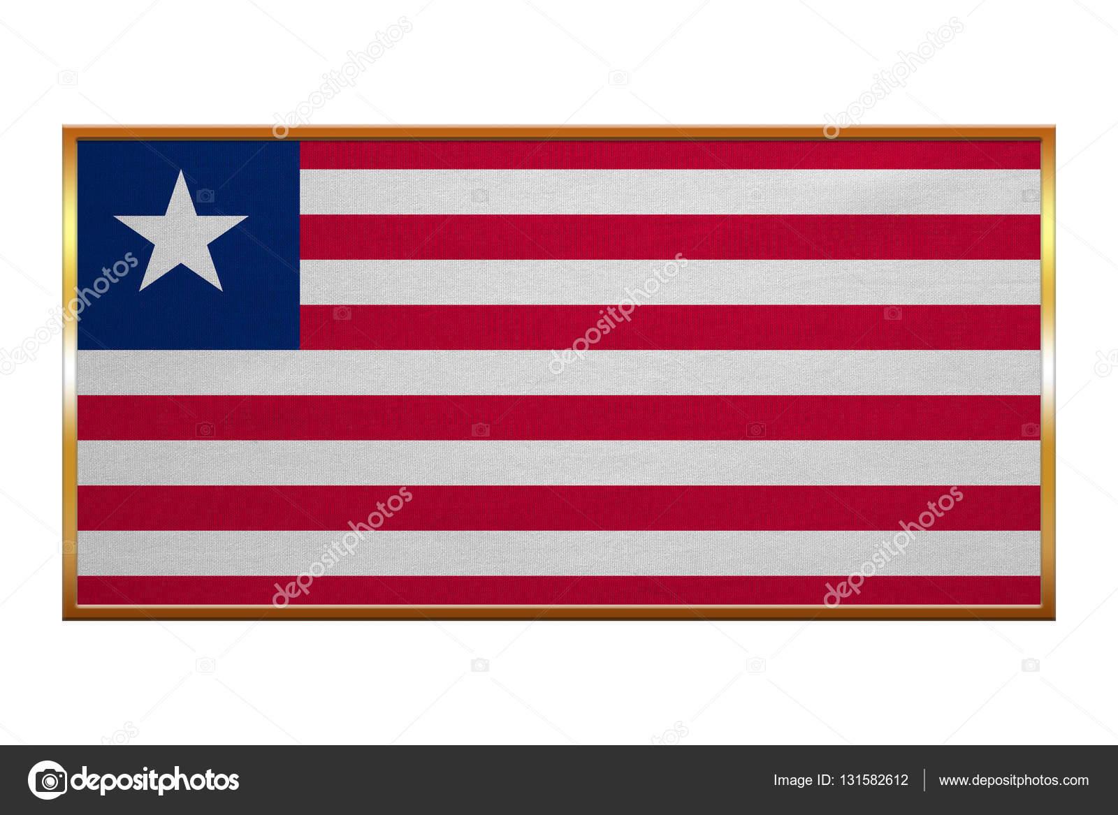 Flagge von Liberia, Goldrahmen, Stoff — Stockfoto © photoroman ...