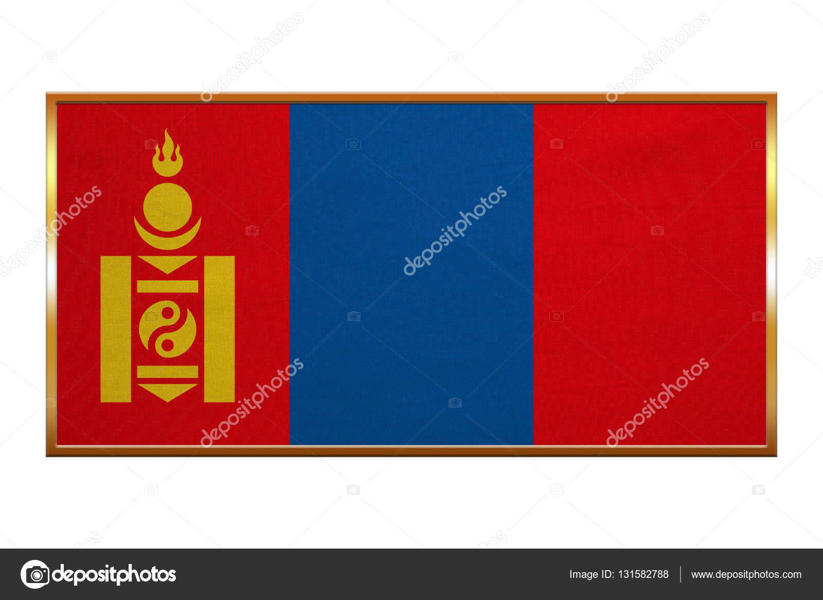 Bandera de Mongolia, marco dorado, textura de la tela — Foto de ...
