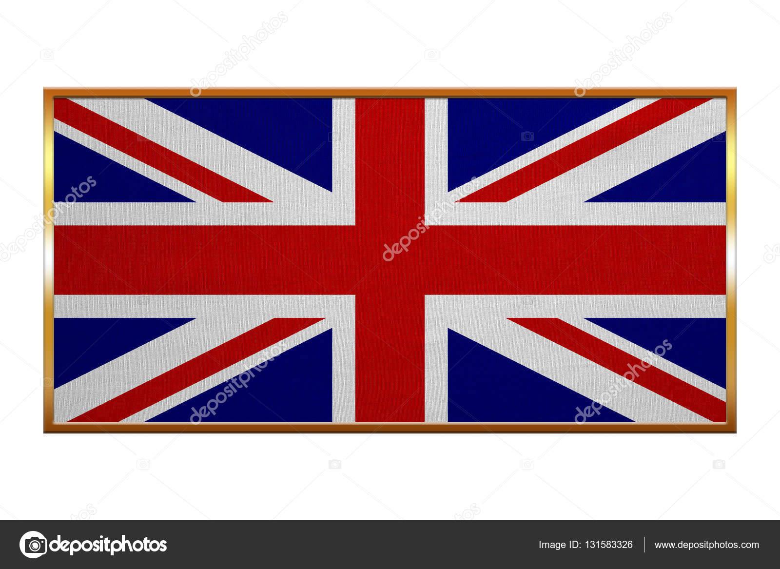 Bandera de Reino Unido textura de la tela marco dorado — Fotos de ...