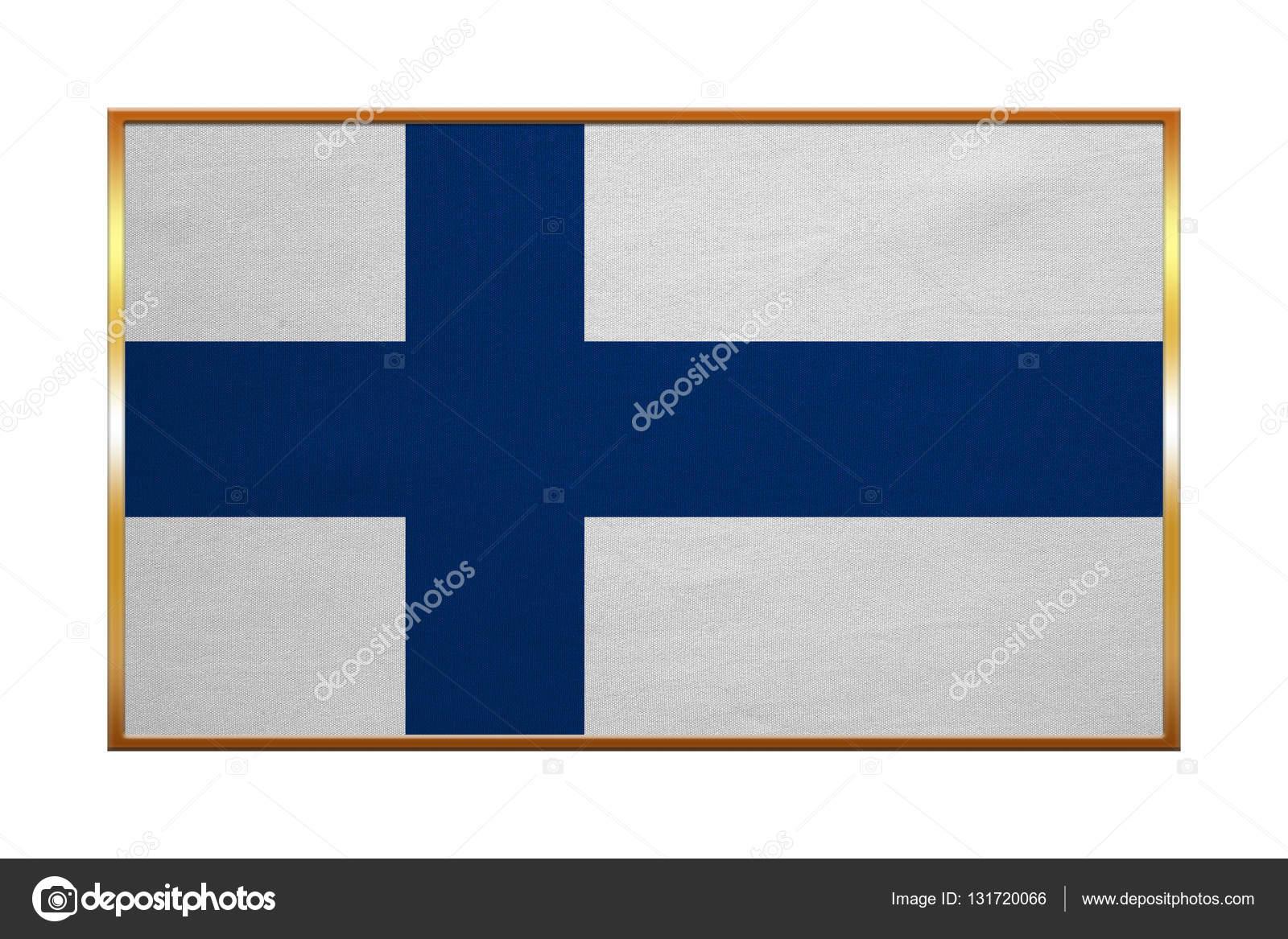Flagge von Finnland, Goldrahmen, Stoff — Stockfoto © photoroman ...
