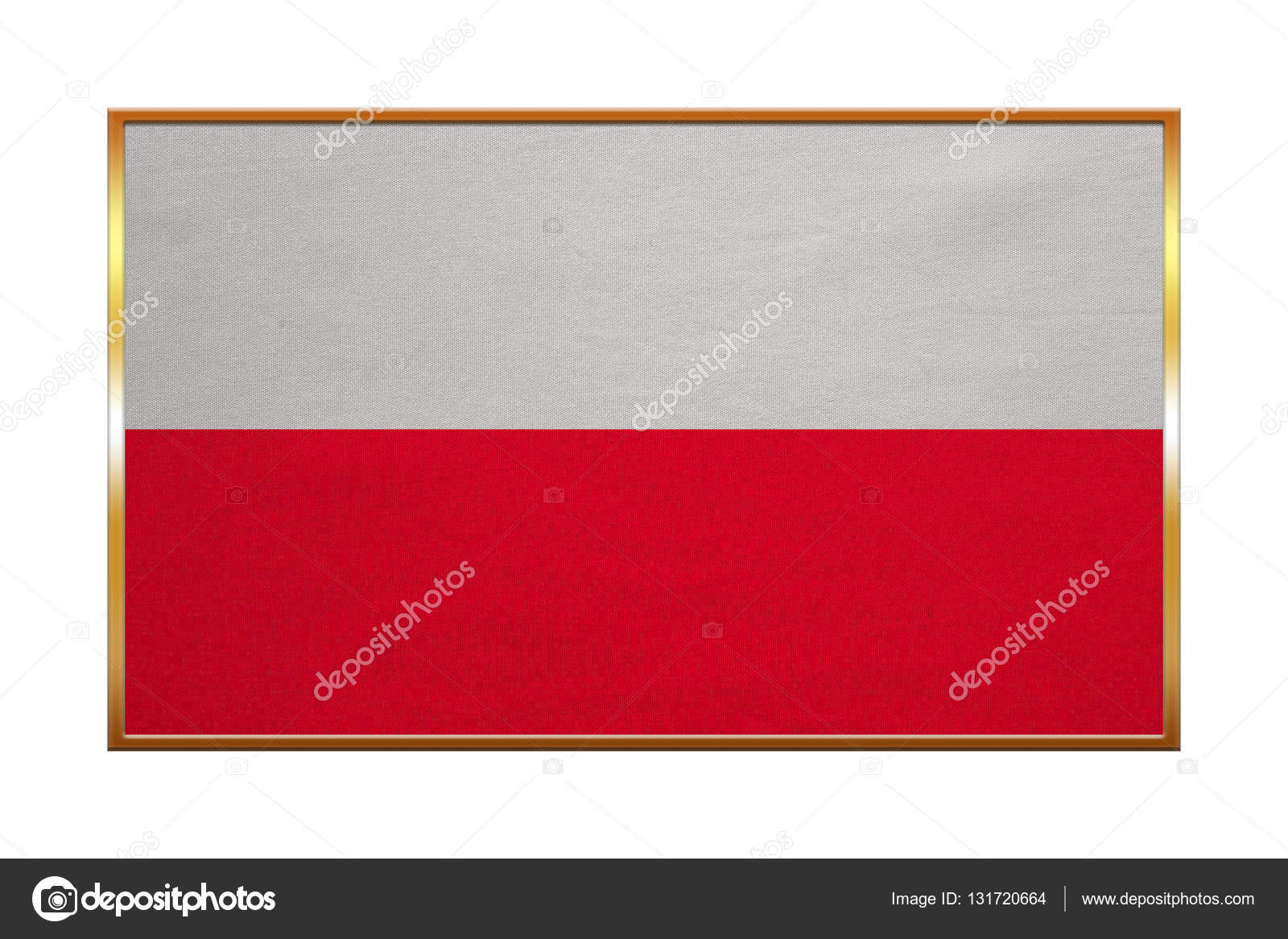 Flagge von Polen, Goldrahmen, Stoff — Stockfoto © photoroman #131720664