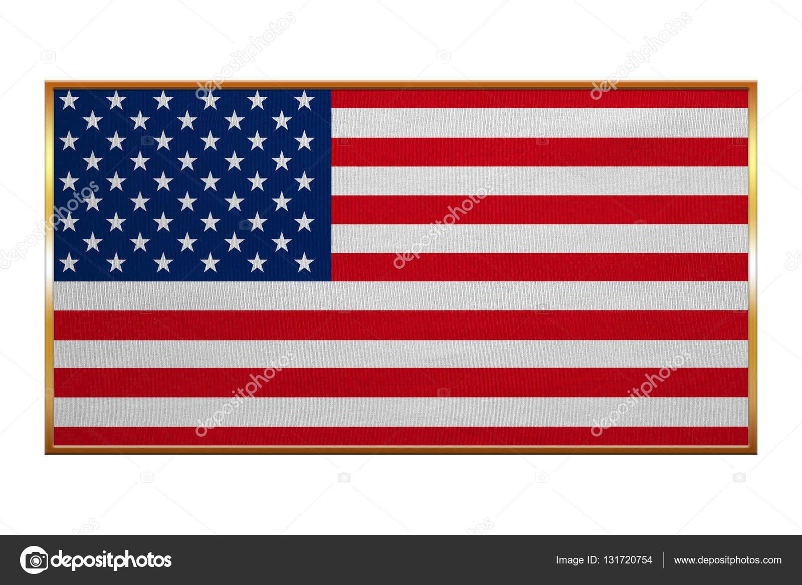Flag of USA, golden frame, fabric texture — Stock Photo © photoroman ...