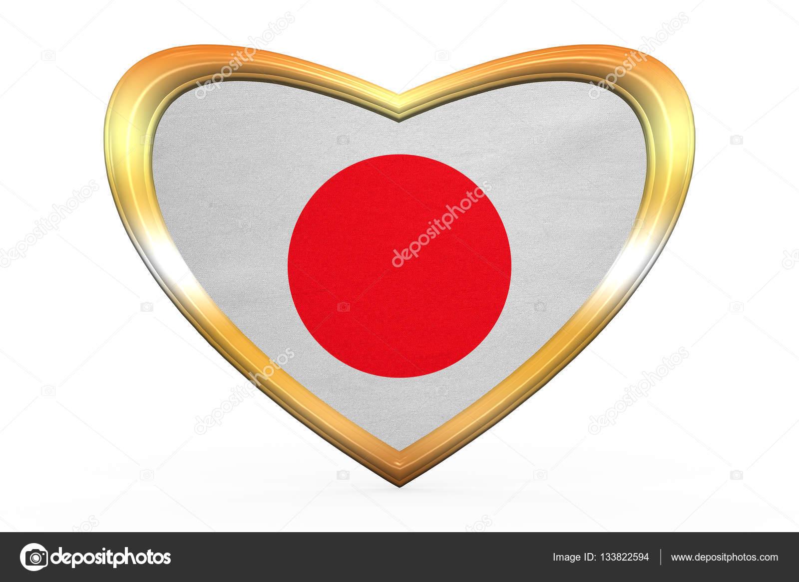 Bandera de Japón en el marco de la forma, oro de corazón — Foto de ...