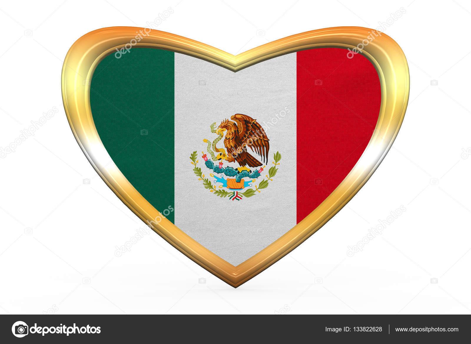 Bandera de México en el marco de la forma, oro de corazón — Fotos de ...