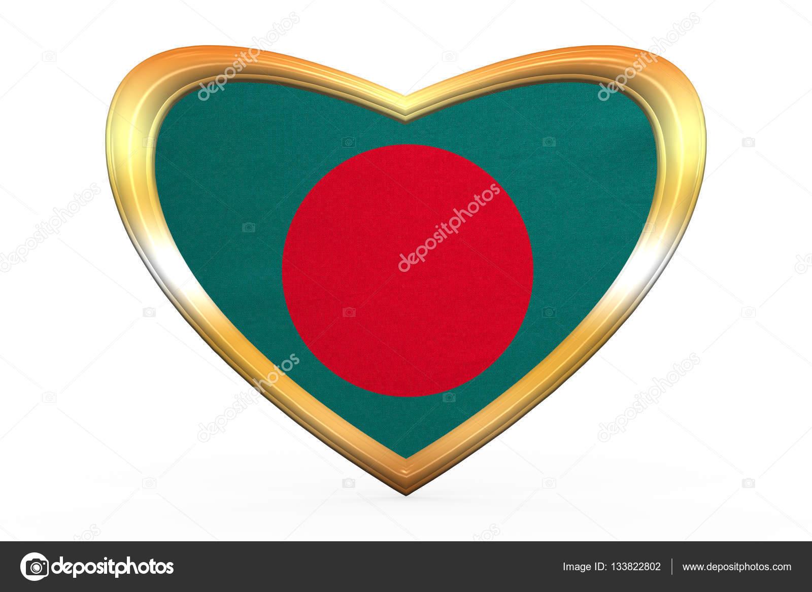 Bandera de Bangladesh en el marco de la forma, oro de corazón ...