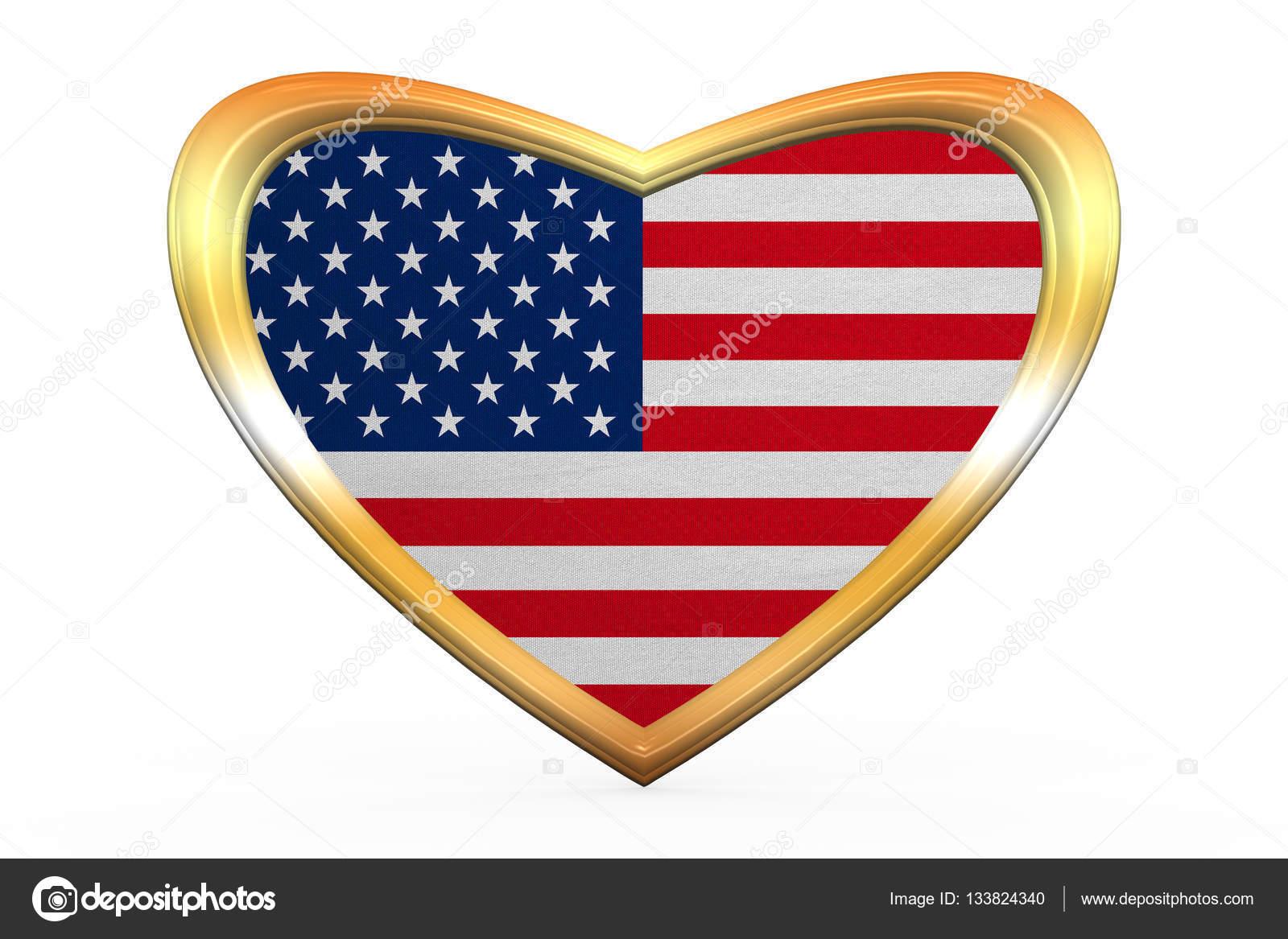 Bandera de Estados Unidos en el marco de la forma, oro de corazón ...