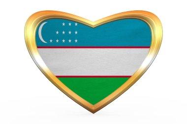 Flag of Uzbekistan in heart shape, golden frame