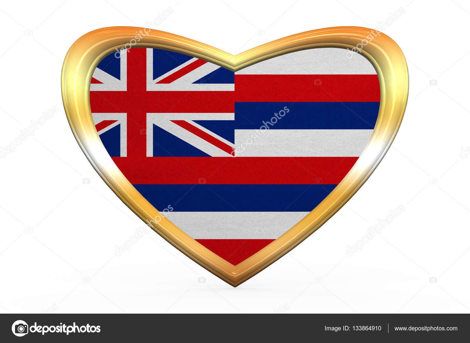 Flagge von Hawaii in Herz Form, goldener Rahmen — Stockfoto ...