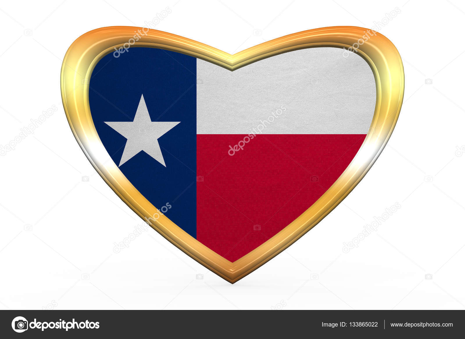Flagge von Texas in Herz Form, goldener Rahmen — Stockfoto ...
