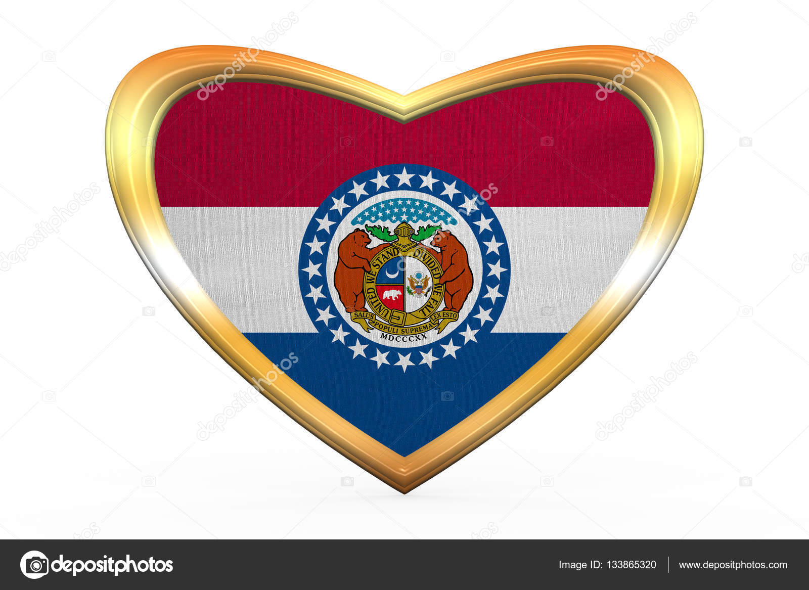 Flagge von Missouri in Herz Form, goldener Rahmen — Stockfoto ...