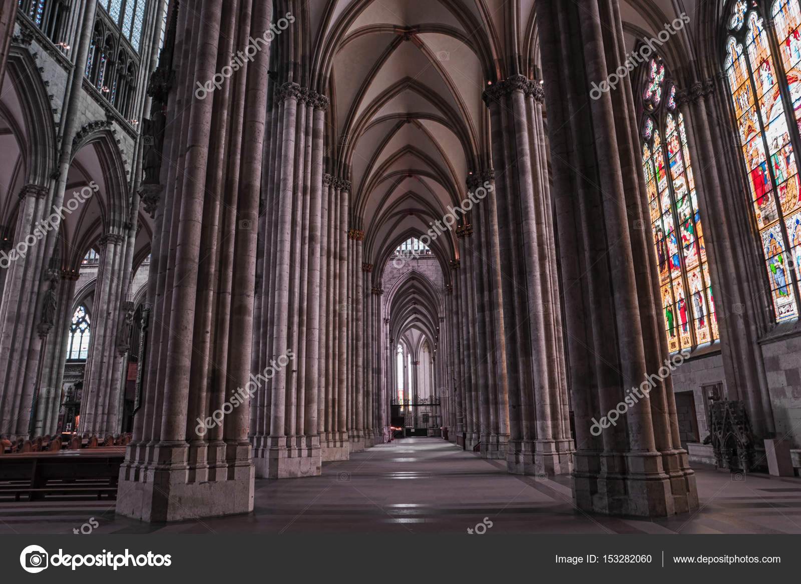 Famous Monument And Most Visited Place Symbol Of Cologne Inside Dom Nave Columns Stained Glass Ceiling UNESCO World Heritage Site Photo