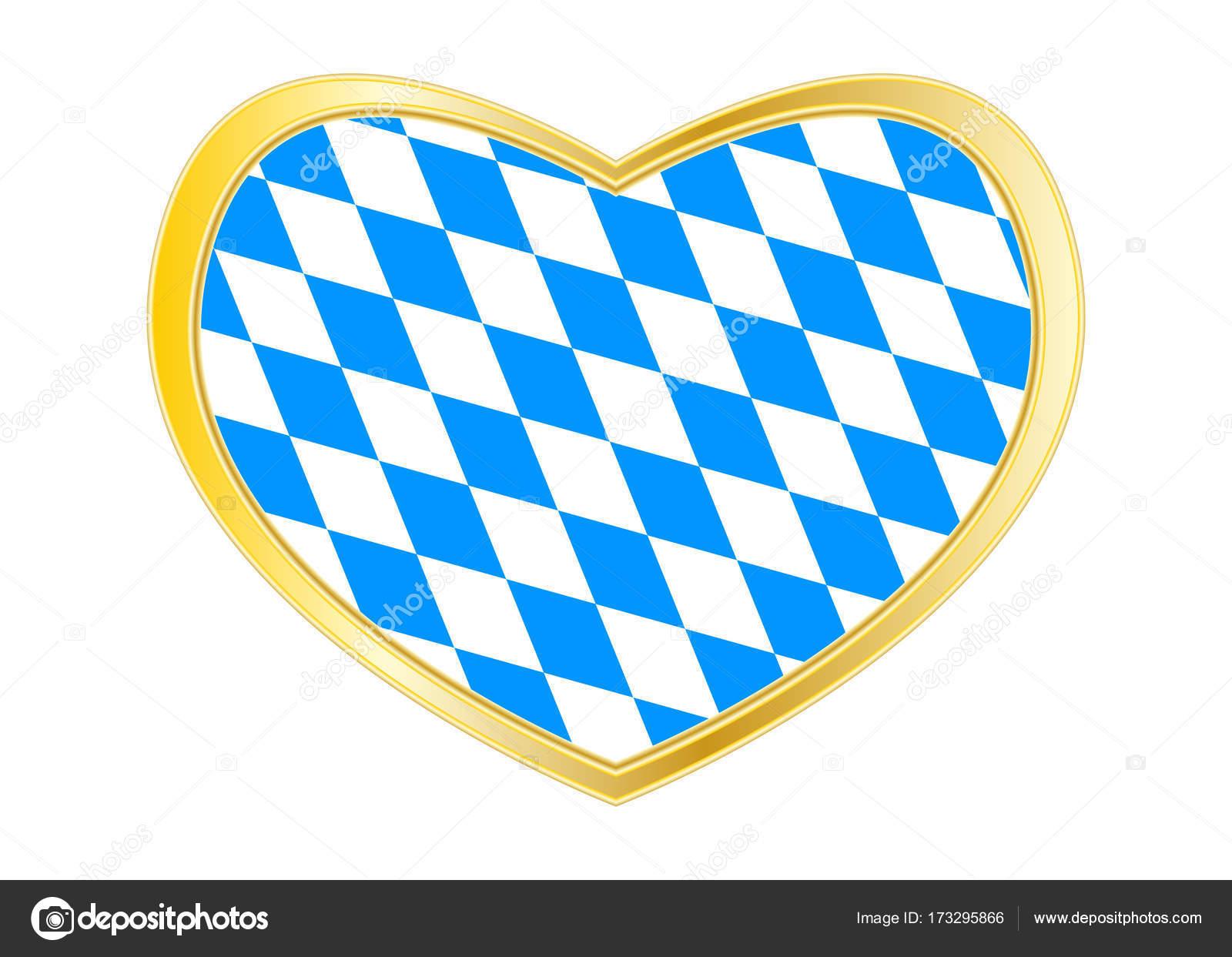 Bandera de Baviera en forma, oro marco de corazón — Vector de stock ...