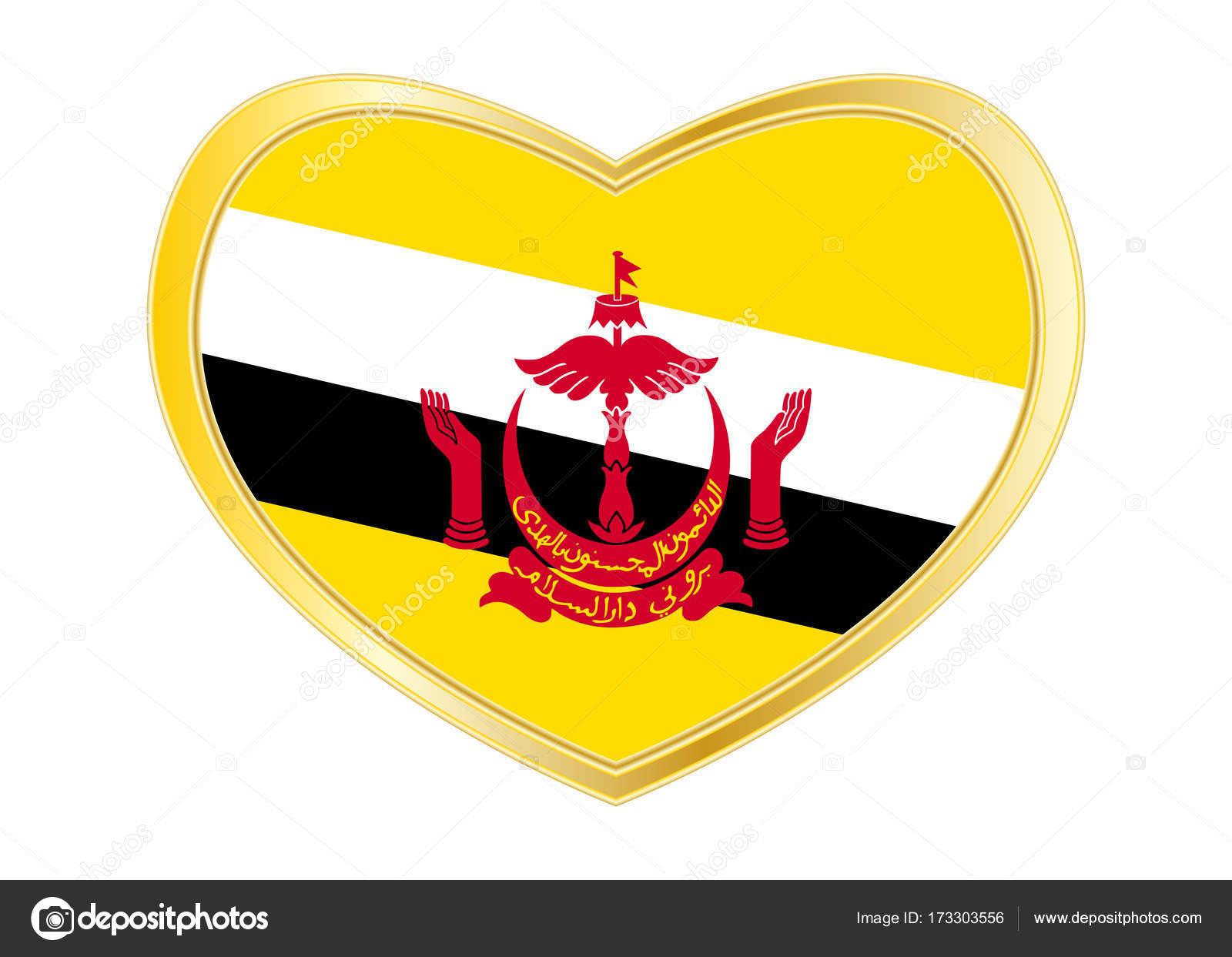 Flag Of Brunei In Heart Shape Golden Frame Stock Vector