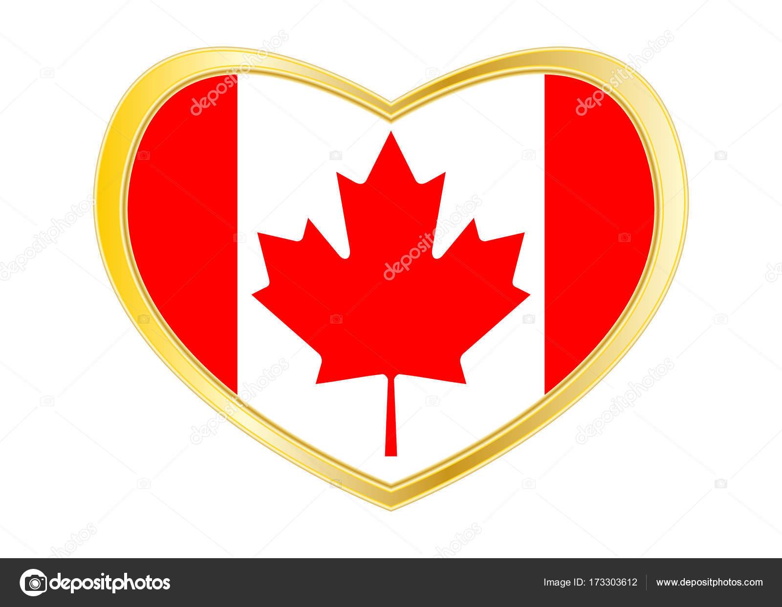 Flag Of Canada In Heart Shape Golden Frame Stock Vector