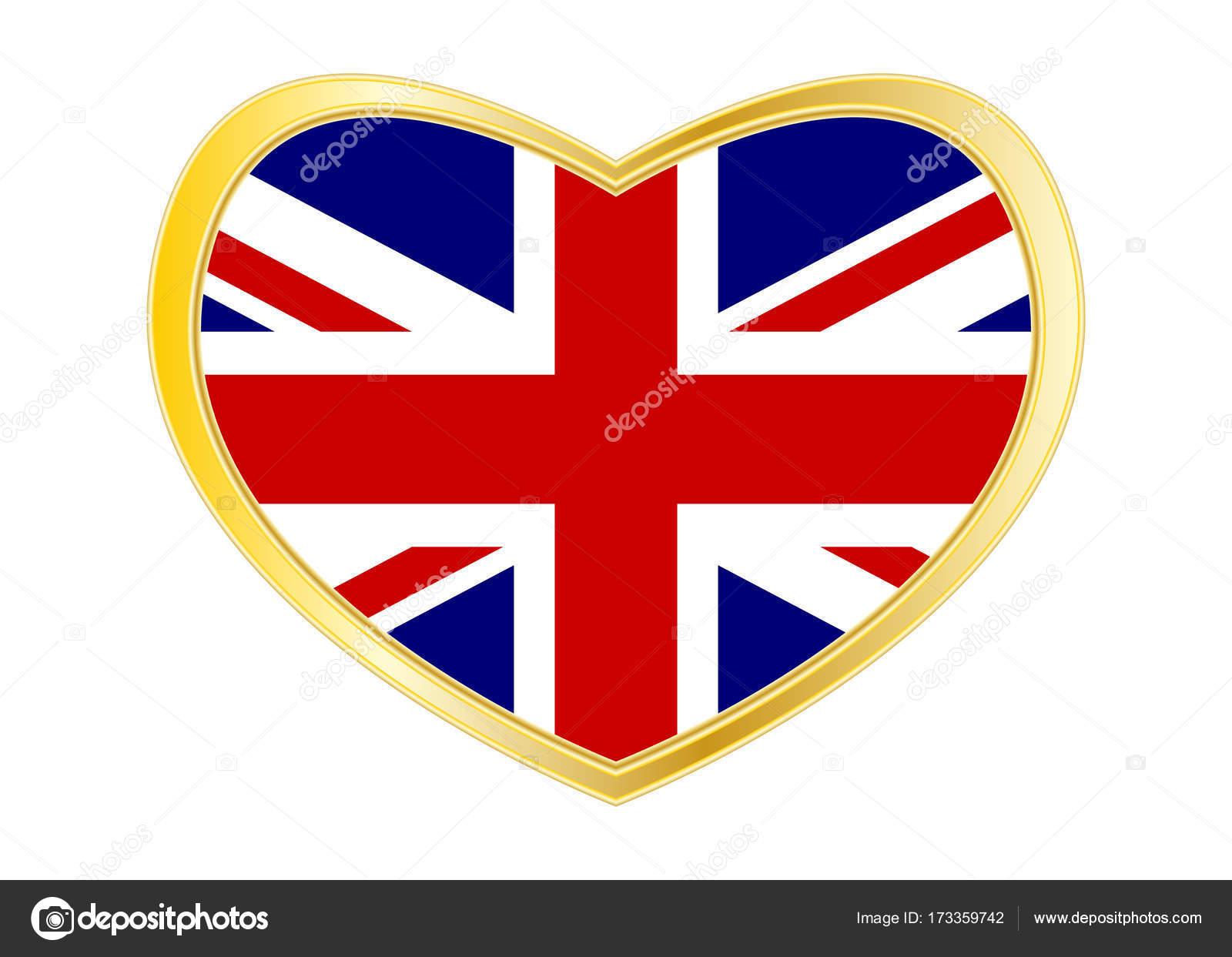 Bandera de España en el corazón de la forma marco oro — Vector de ...