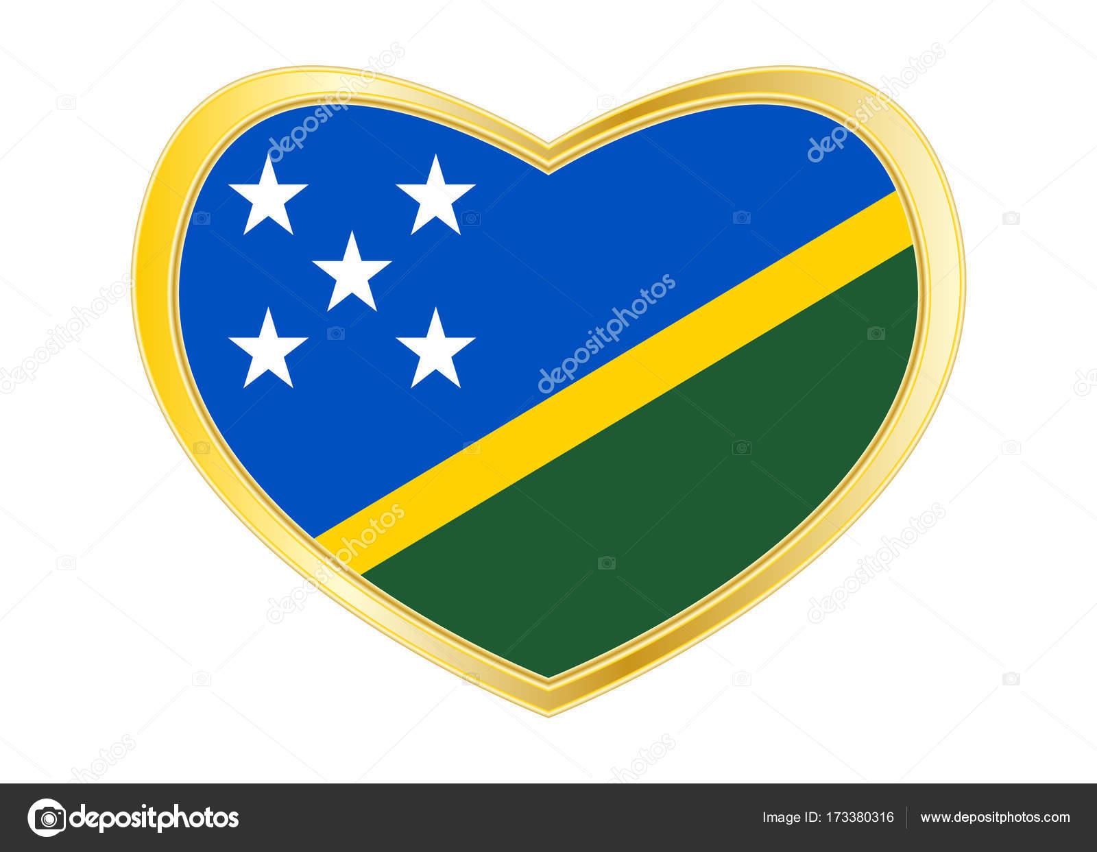 Flagge von Salomonen in Herz-Form, gold-Rahmen — Stockvektor ...