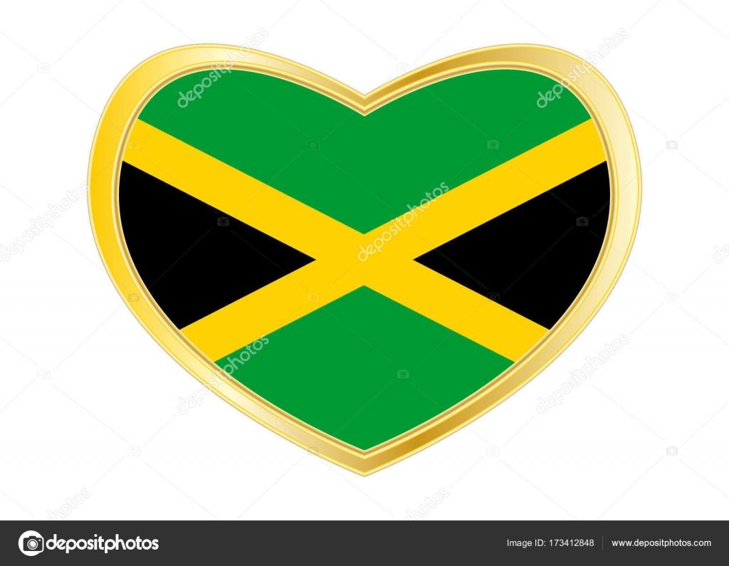 Flag Of Jamaica In Heart Shape Golden Frame Stock Vector