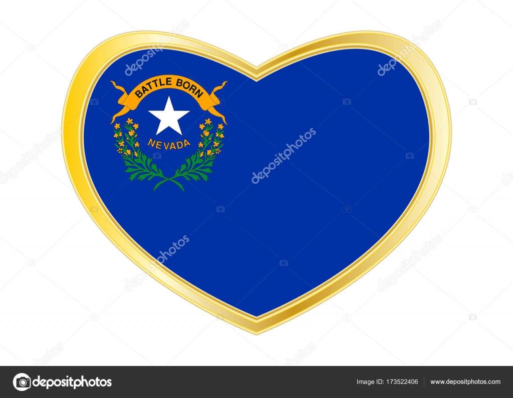 Flagge von Nevada in Herz Form, goldener Rahmen — Stockvektor ...