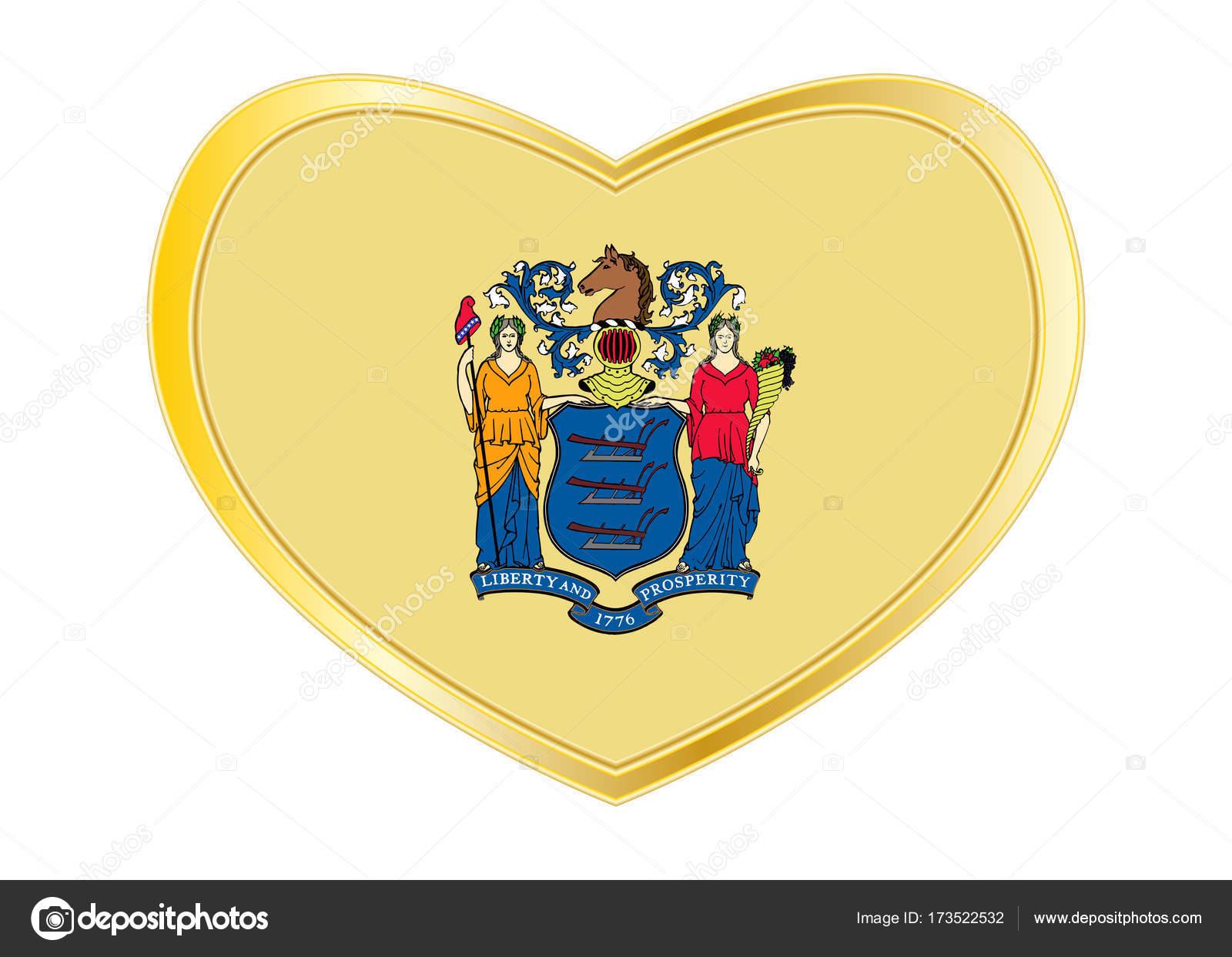 Flagge von New Jersey in Herz Form, goldener Rahmen — Stockvektor ...