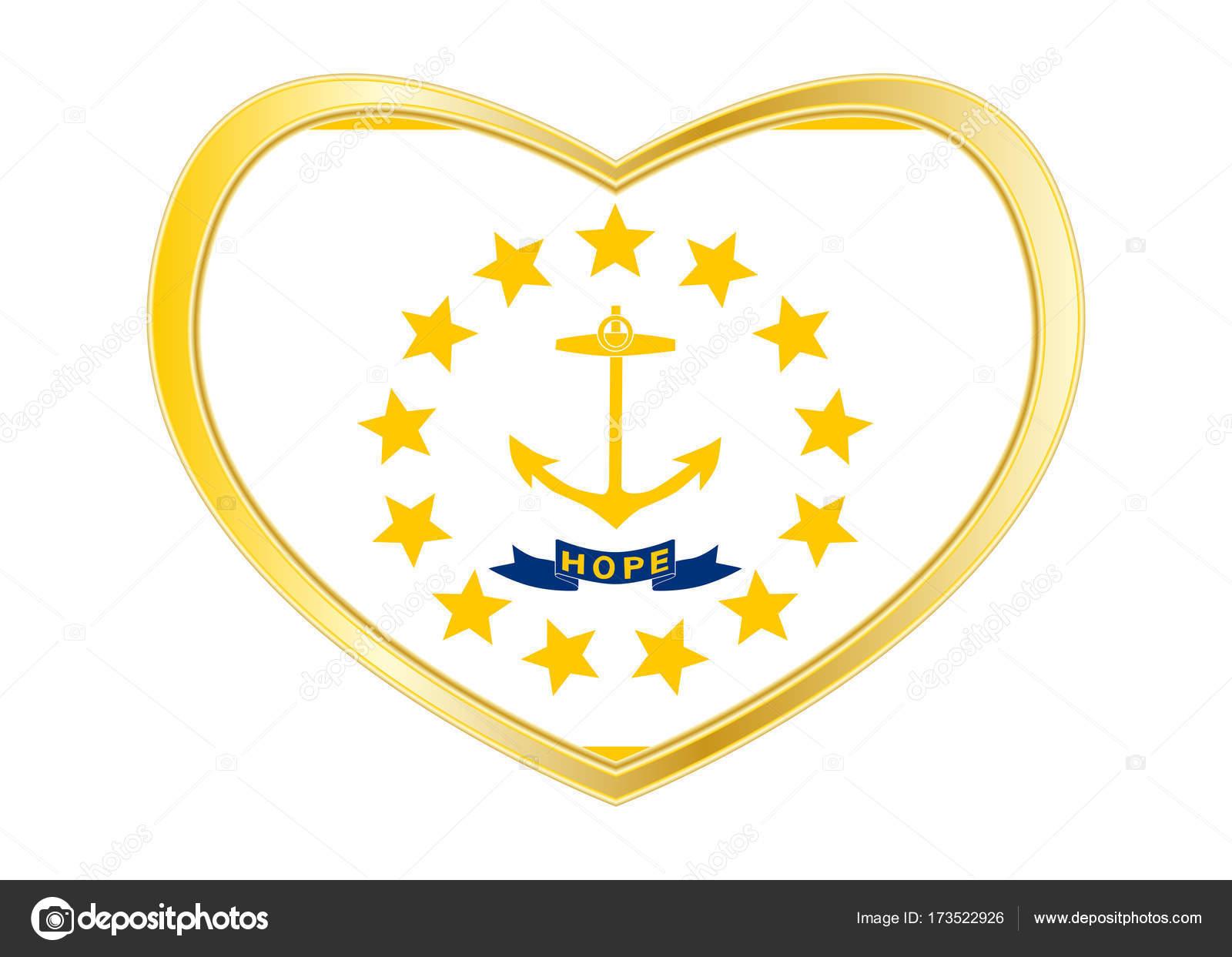 Flag Of Rhode Island In Heart Shape Golden Frame Stock Vector
