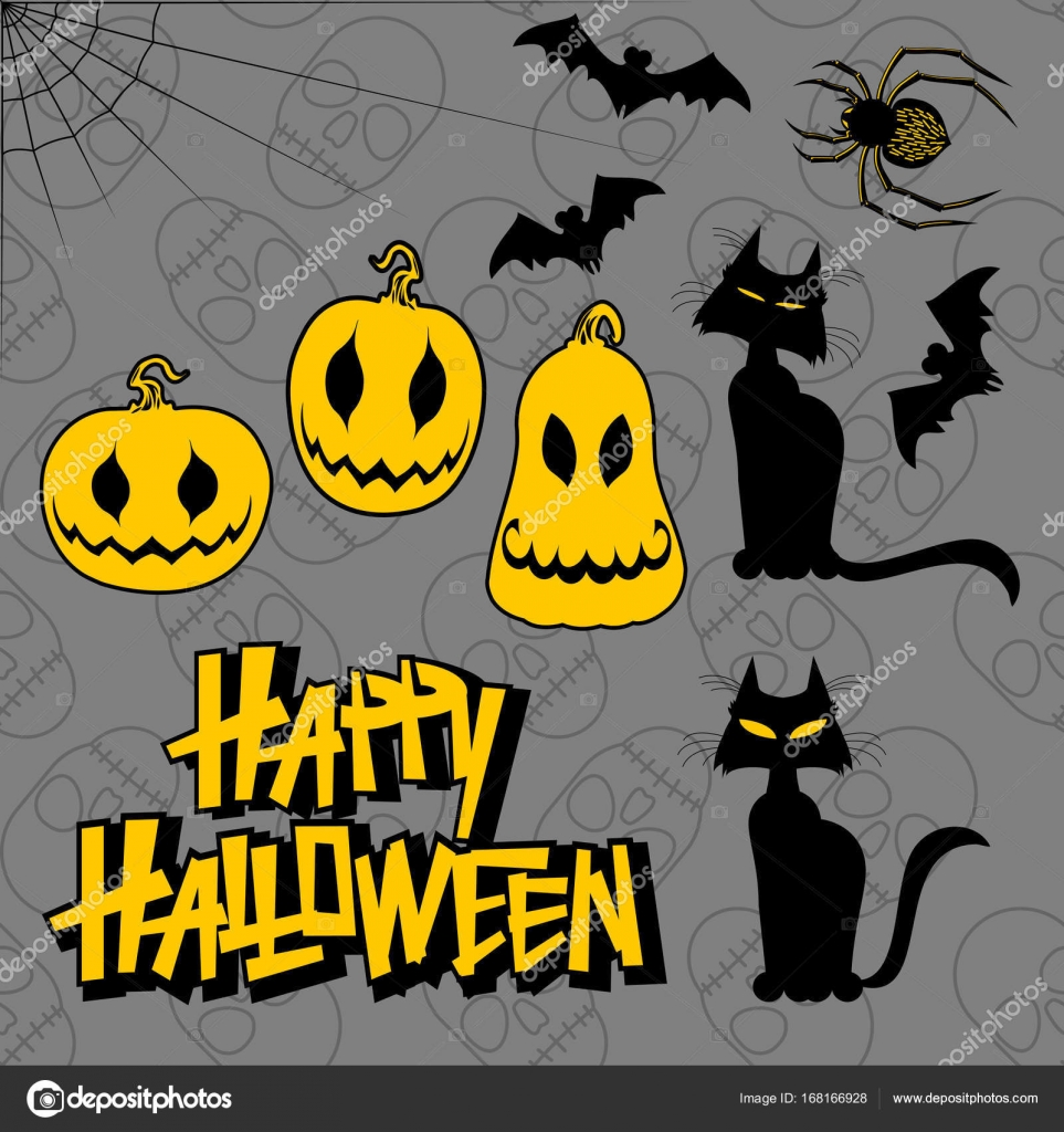 Set Of Characters For Halloween In Cartoon Style Black And Yellow