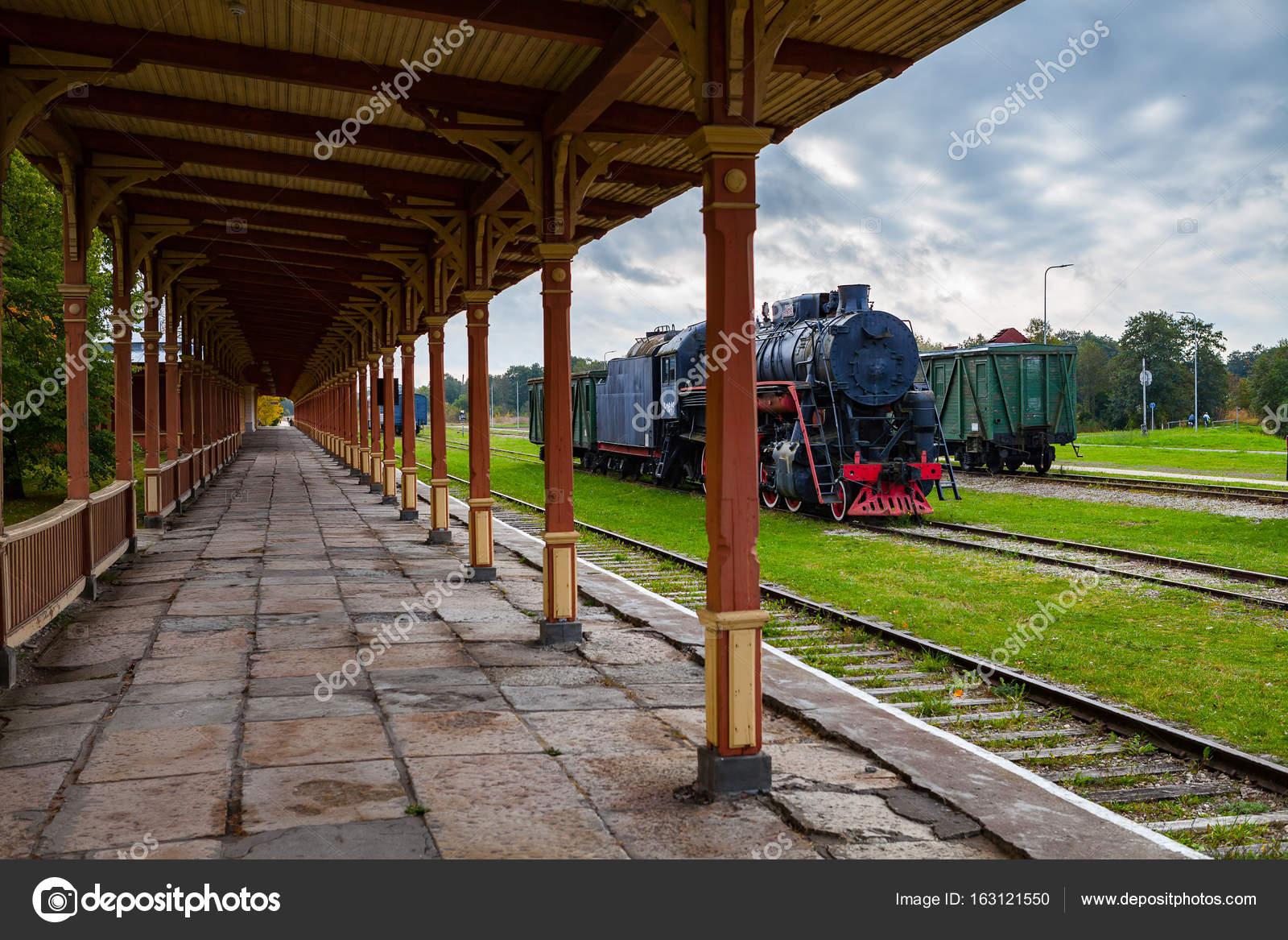 Platform Of Old Vintage Railway Station In Haapsalu Estonia Stock Photo