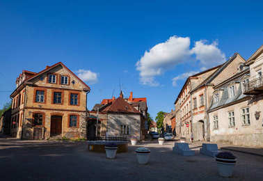 Old town street and buildings. Cesis, Latvia.