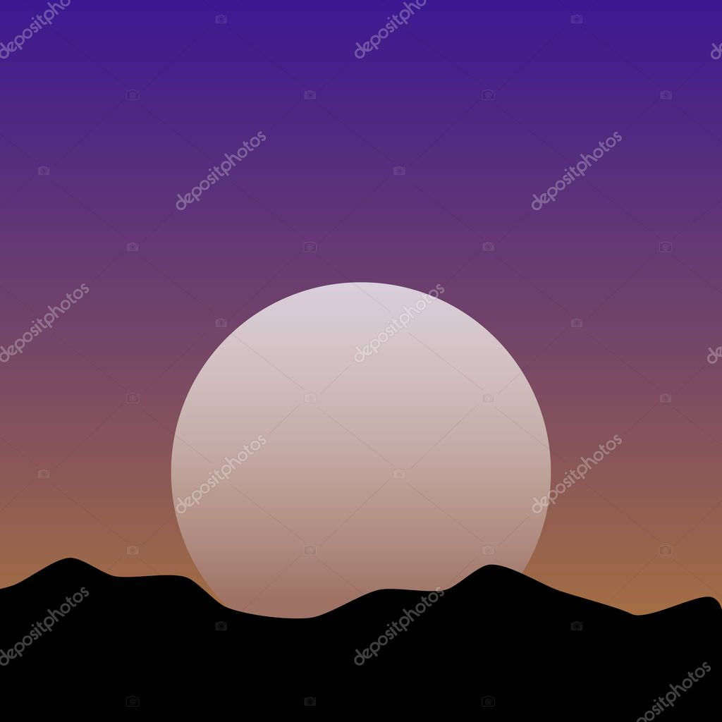 Sunset or Dawn Over the Mountains Landscape. Illustration