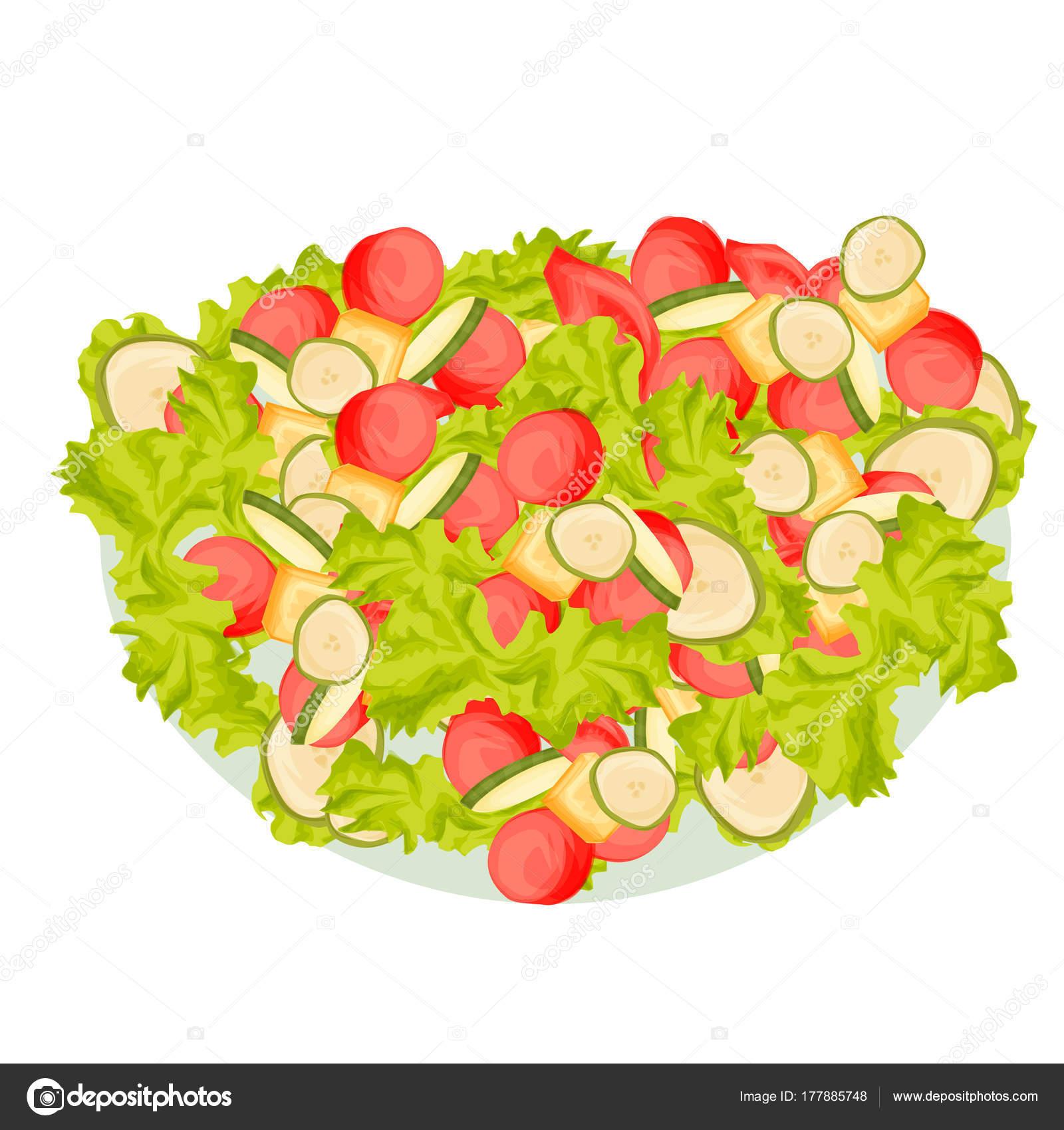 フレッシュ サラダ トマトや他の野菜、漫画のスタイルの食べ物 ...