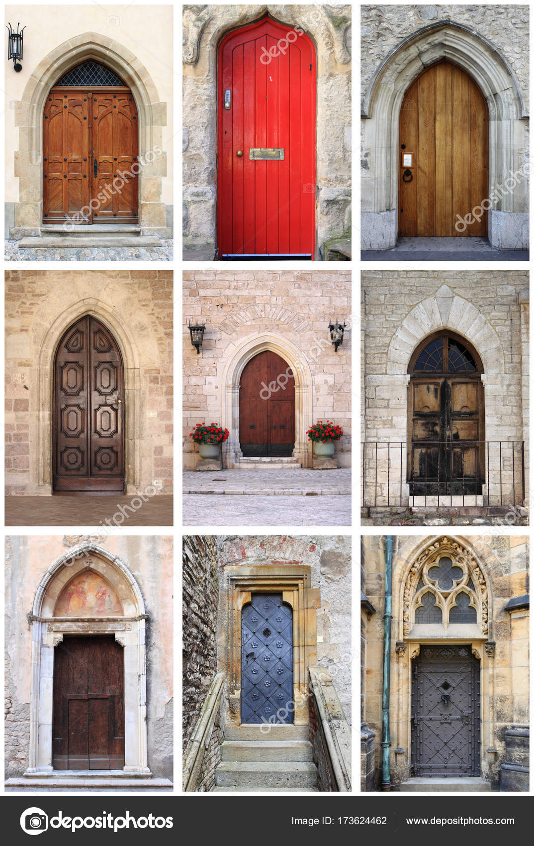 Collage Of Medieval Front Doors With Lancet Arch U2014 Photo By Alessandro0770